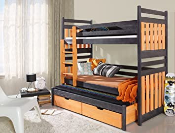 Bunk Bed SAMBOR, Children Triple Bunk Bed - UK Standard & Shorter Size, 24 colours