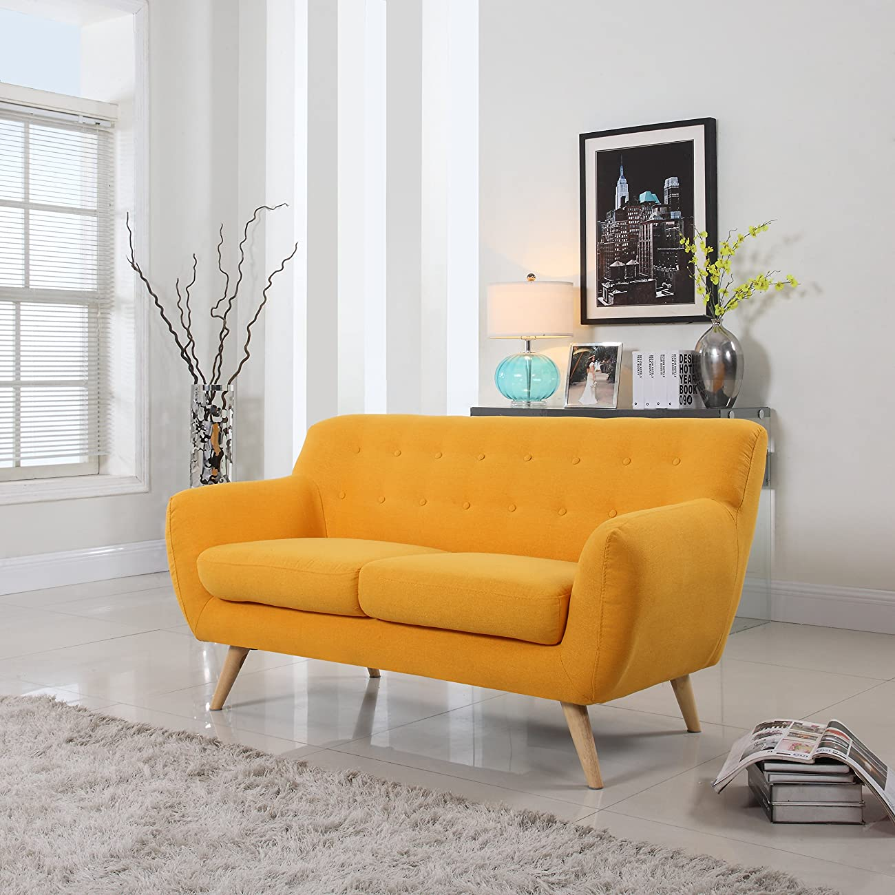 Mid Century Modern Style Sofa / Love Seat Red, Grey, Yellow, Blue - 2 Seat, 3 Seat (Yellow, 2 Seater) 0