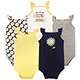 Hudson Baby Baby Sleeveless Cotton Bodysuits, 5 Pack, Daisy, 6-9 Months
