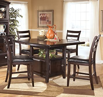 Ashley D52032 Ridgley Counter Height Storage Extension Table with Storage Table Selected Veneer and Hardwood Solids in Dark