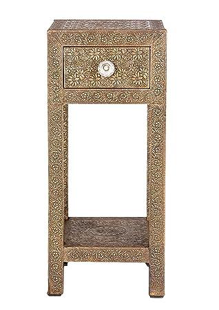"""Sit-Möbel 9378-22 mesa auxiliar """"Brass"""", 30 x 90 cm, funda de latón, marrón"""