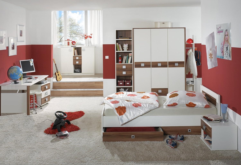 Jugendzimmer mit Bett 90 x 200 cm alpinweiss/ Französisch Nussbaum online bestellen