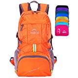 Venture Pal Ultralight Lightweight Packable Foldable Travel Camping Hiking Outdoor Sports Backpack Daypack (Orange)