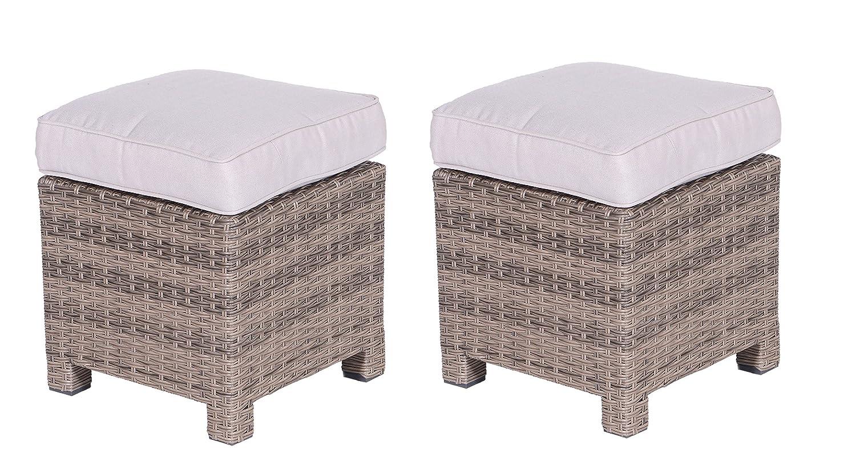 Garden Impressions Lounge Set Hocker 2x Hocker La Paz neu, kubu / sand braun kaufen
