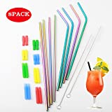 Stainless Steel Straw Tumblers 30oz Reusable StrawsFor Cold Beverage Bottle Cup Mugs -Kids Set Of 8 With 2 Cleaning Brushes (Multi-Colour) (Color: multicolour)