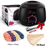 Wax Warmer portable Home Hair Removal kit,Electric Heater Machine, hot waxing melts pot stripless facial face body brazilian with 4 pearl hard wax beans+applicator sticks+nail clipper for Women & Men