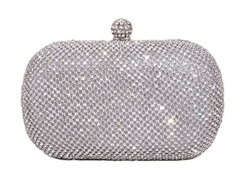 Glamour Crystal Pave Hard Case Evening Clutch with Detachable Chains (Silver)