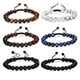 FUNRUN JEWELRY 6PCS Bead Bracelets Set for Men Women Natural Stone Mala Bracelet Adjustable