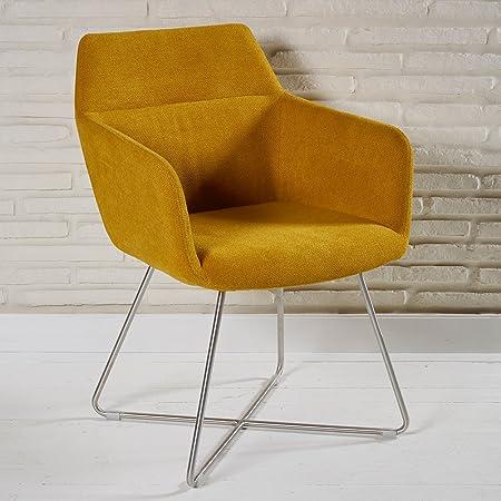 Farbenfroher Armlehnstuhl mit Stoffbezug fur Ihren Wohnbereich - Sitzmöbel Lounge Designer Sessel in orange mit Armlehnen