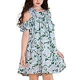 AuroraBaby Chiffon Cold Shoulder Hawaiian Dresses for Girls Kids Green Beach Big Girls Dress 7-16 Size 10-12 (Color: Green, Tamaño: M(10-12)/Height 55''-57'')