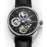 Stuhrling Original Men's 657.02 Delphi Stainless Steel Automatic Self-Wind Dual Time AM/PM Indicator Watch With Black Leather Band (Color: Black, Tamaño: Standard)