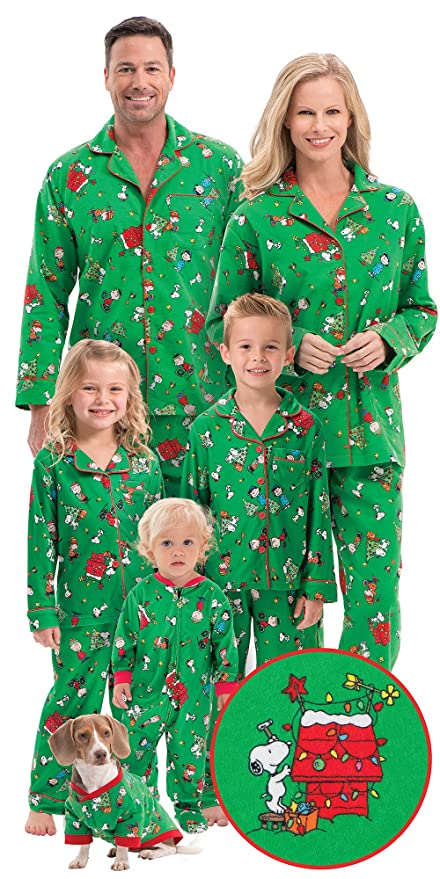 Brushed Cotton Flannel Charlie Brown Matching Christmas Pajamas for the Whole Family