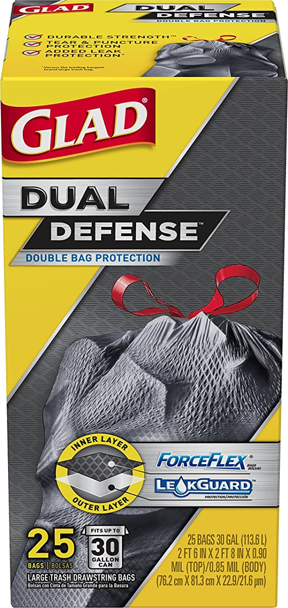 Glad Dual Defense Large Drawstring Trash Bags - 30 Gallon