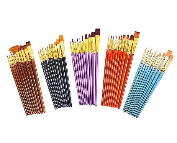 S & E TEACHER'S EDITION 50 Pcs Colorful Paint Brush Set, Nylon Hair, Acrylic, Oil, Watercolor Paints