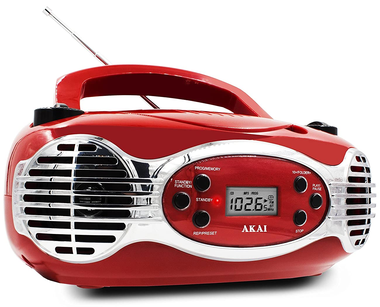 Akai CE2200R CD Boombox FM PLL Radio, Red 2