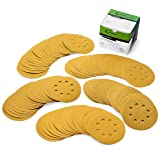 5 Inch 8 Hole Assorted Grit Hook and Loop Sanding Discs, Premium Abrasive Aluminum Oxide Orbital Sandpaper 100 Pieces