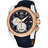 Parmigiani Fleurier Pershing 005 Mens Automatic Chronograph Watch Rose Gold Bezel - 45mm Analog Blue Face with Second Hand, Date and Tachymeter - Black Rubber Band Swiss Made Waterproof Watch for Men