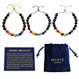Believe London Chakra Bracelet with Jewelry Bag & Meaning Card | Adjustable Bracelet to Fit Any Wrist | 7 Chakra Natural Stone | Healing Reiki Yoga (Black Chain Bracelet)