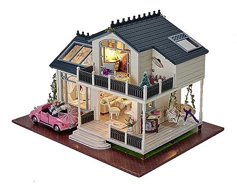 Cuteroom Kit maison de poupées en bois à fabriquer soi-même Villa de Provence et meubles miniatures Contrôle vocal Boîte à musique