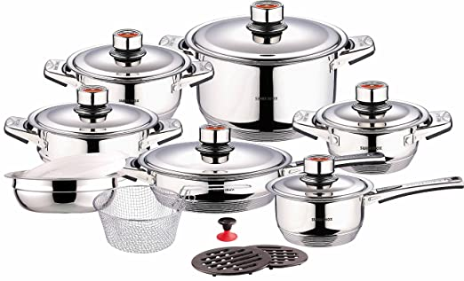Stainless steel cookware set fry pot pan saucepan for Cuisine 7000 euros