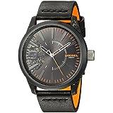 Diesel Men's Rasp Black IP and Black Leather Watch DZ1845 (Color: Black, Tamaño: One Size)