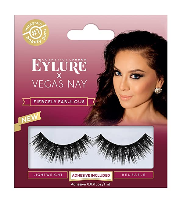 Eylure Vegas Nay Fiercely Fabulous False Eyelashes, Reusable, Adhesive Included, 1 Pair, Cruelty Free (Color: Fiercely Fabulous)