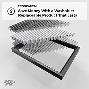K/&N VF2047 Washable /& Reusable Cabin Air Filter Cleans and Freshens Incoming Air for your Audi