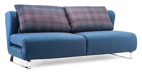Zuo Conic Sleeper Sofa, Cowboy Blue Body and Shadow Grid Cushion