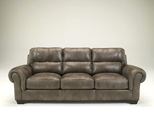 Vevinia Sable Faux Leather Upholstered Contemporary Design Rolled Arm Sofa