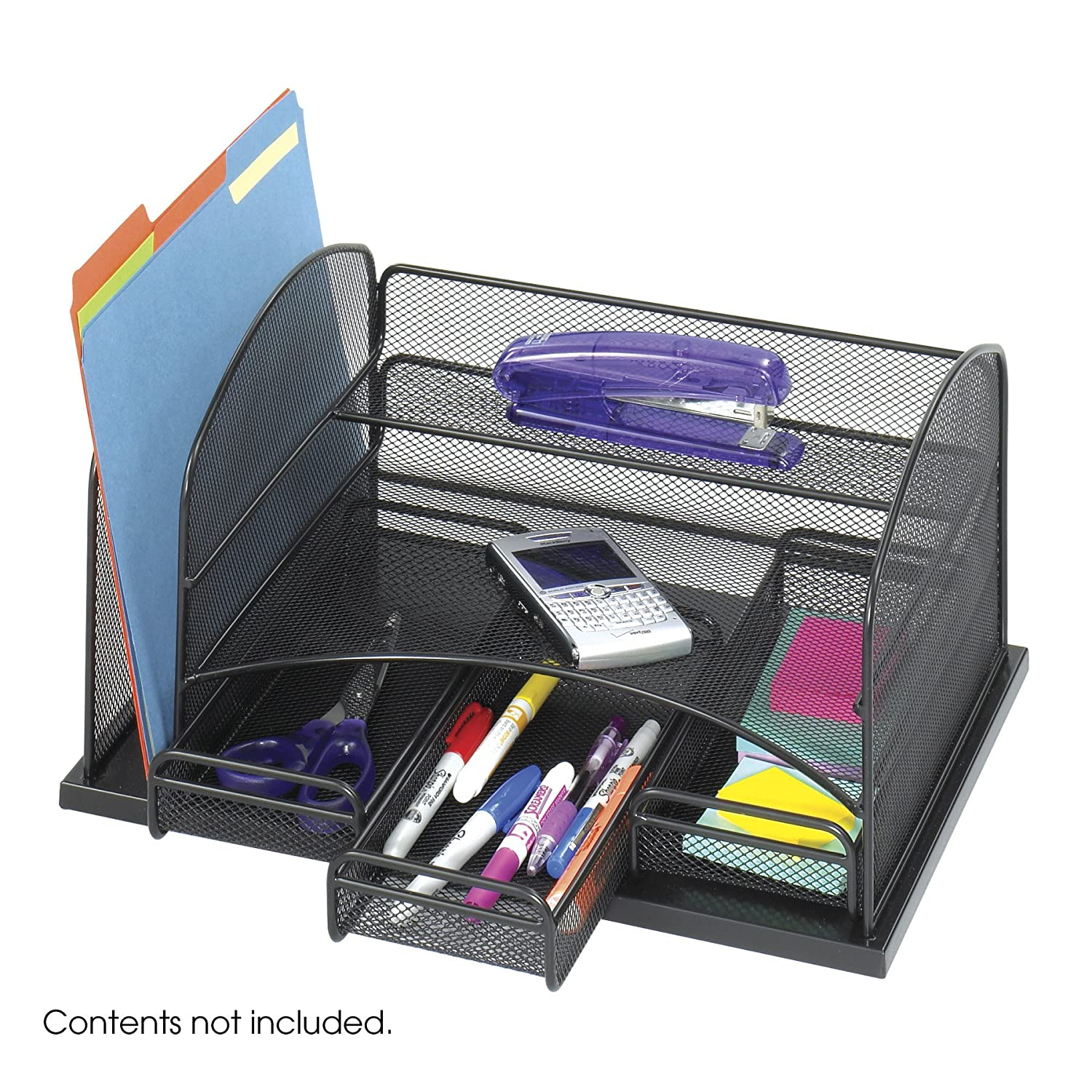 Safco products onyx mesh desk organizer with 3 drawers - Desk organizer drawers ...