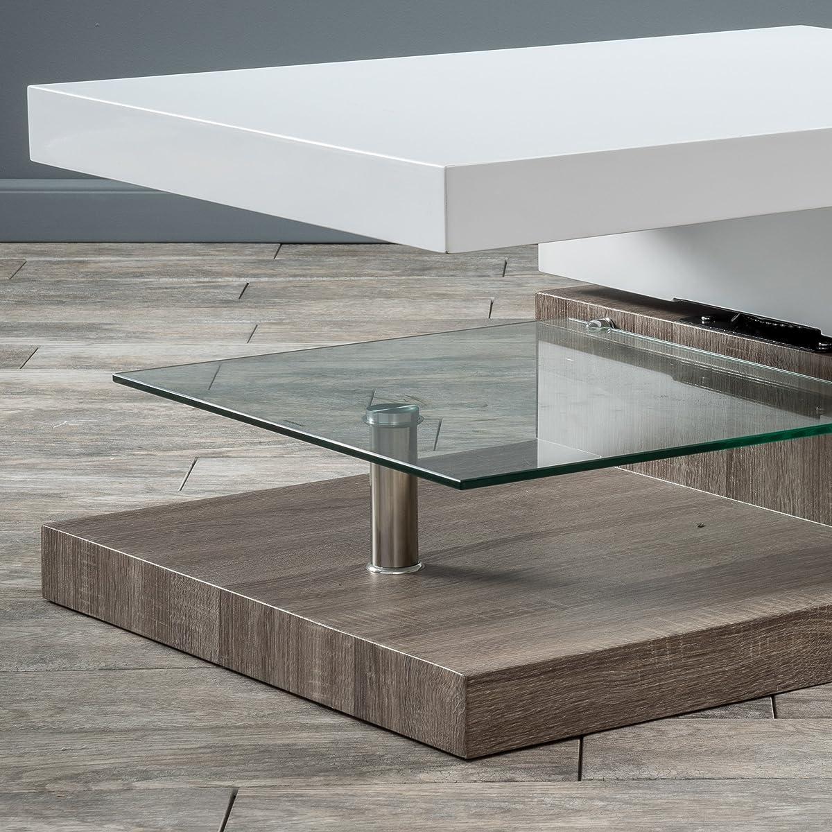 Emerson Rectangular Mod Swivel Coffee Table w/ Glass