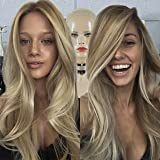 3T Ombre Balayage Ash Blonde Gold Blonde Brazilian Human Remy Hair Front Lace Wigs For Women (Tamaño: 24inch 180density)