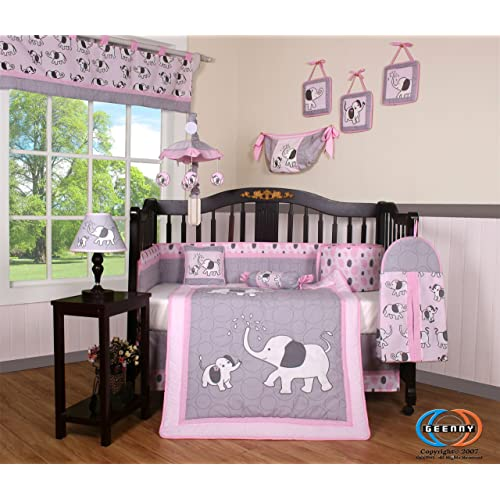 Boutique Pink Gray Elephant 13pcs Crib Bedding Sets
