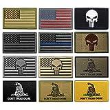 WZT Bundle 12 Pieces American Flag Tactical Military Morale Patch Set (Color: 1, Tamaño: 2*3in)