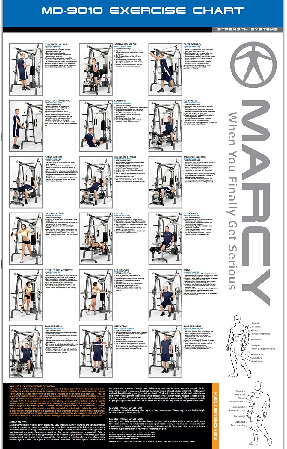 Exercise chart for marcy home gym images