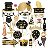 Kristin Paradise 25Pcs New Years Eve Photo Booth Props with Stick, 2020 NYE Theme Selfie Props, NY Party Supplies, Photography Backdrop Decorations Kit (Color: New Years Photo Booth Props)