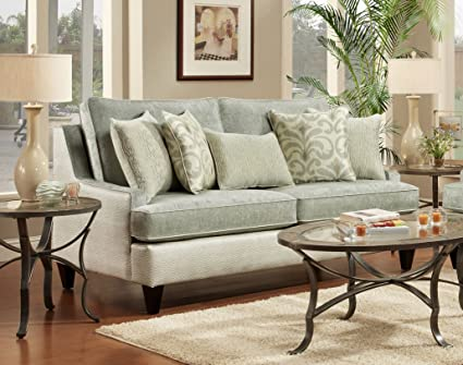Chelsea Home Furniture Catania Sofa, Xanadu Crystal/Emu Ice with Amisha Climate/McAniff Algae Pillows