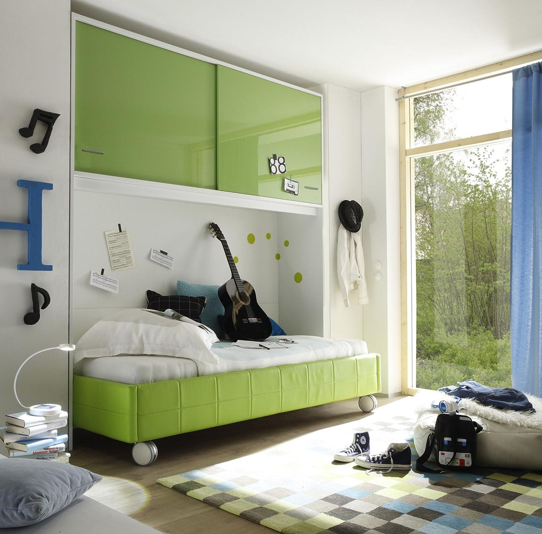 Bett 90 x 200 cm mit Bettbrücke kiwi grün/ weiss kaufen