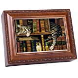 Cat Sleeping in library Wooden Music Box That's What Friends are For MB249 (Color: Brown, Tamaño: 8