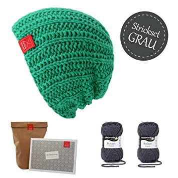 strickset m tze grau beanie selberstricken strickpaket mit. Black Bedroom Furniture Sets. Home Design Ideas
