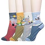 KONY Women's Funny Cartoon Japanese Animation Crew Socks Casual Cotton Gift (Miyazaki – 4 pairs) (Color: Miyazaki Hayao - 4 Pairs, Tamaño: Medium)