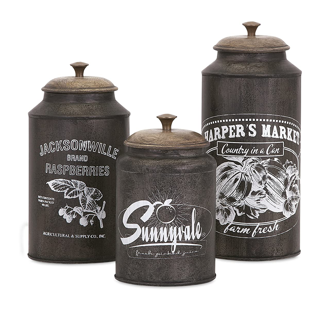 IMAX 73383-3 Darby Metal Canisters - Set of Three, Brown 0