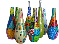 colourful olive oil drizzler bottles