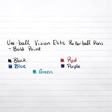 uni-ball Vision Elite Stick Roller Ball Pens, Bold Point, Purple Ink, Pack of 12