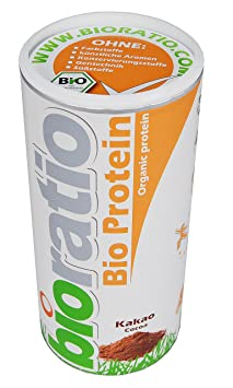 BIORATIO BIO Protein Kakao 500g, reinstes Bio Protein aus naturlichem Whey und Casein ohne Zusätze mit echtem Kakao| Organic multicomponent protein cocoa taste