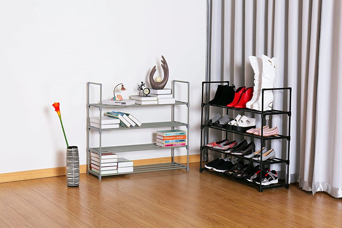 "Homebi Shoe Rack 4-Tier Metal Shoe Tower 20-Pair Shoe Storage Organizer Unit Entryway Shelf Cabinet with 4 Tiers Durable Metal Shelves,35.6""W x 12.0"" D x 33.27""H (Grey)"