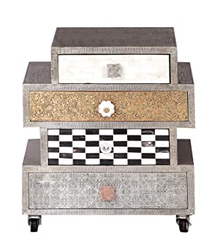 SIT-Möbel Chest of Drawers Metal 1354–97 &Bone, 50 x 33 x 57 CM, Mango, MDF, Metal, brass, copper, Coconut Shell, Bone, Multi-Colour