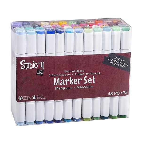 Darice Studio 71, Dual Tip, 48 Pieces Alcohol-Based Marker Set, Multicolor (Color: Multicolor, Tamaño: 48 Piece)