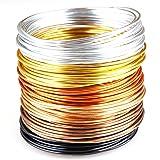 Creacraft Beading Wire Set Golden Autumn: 6 Colors of Tarnish Resistant Anodized Aluminium Wire, 16ft per Coil (2mm (12ga)) (Color: Silver, Gold, Copper, Black, Tamaño: 2mm (12ga))