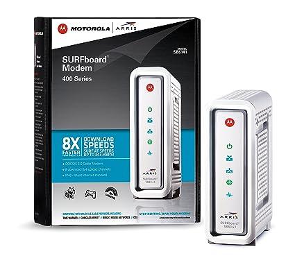 ARRIS / Motorola SurfBoard SB6141 DOCSIS 3.0 Cable Modem - Retail Packaging - White